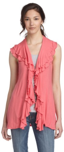 Fever  Women's Double Ruffle Vest,Hot Pink,Medium