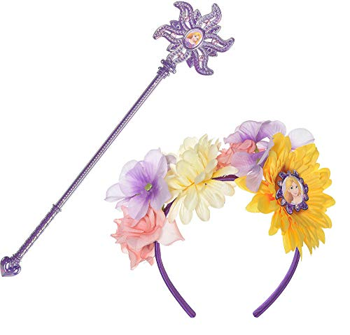Suit Yourself Tangled Rapunzel Costume Accessory Kit, Includes a Floral and Purple Headband and a Matching Cameo Wand