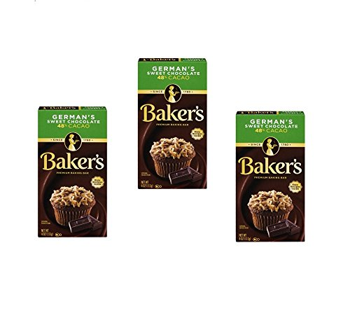 - Baker's Baking Chocolate Bar 48% Cacao German's Sweet, 4 Oz (Pack of 3)