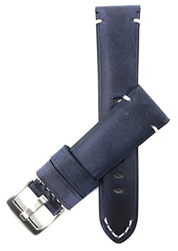 Bandini Extra Long 22mm Mens Vintage Leather Watch Band Strap - Blue - Stainless Steel Buckle (Xl Watch Band 22mm)