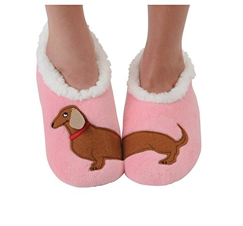 Snoozies Womens Classic Splitz Applique Slipper Socks | Dachshund | Large
