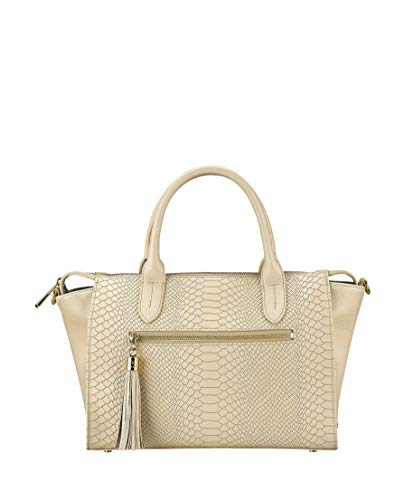 GiGi New York Women's Grace Embossed Python Satchel Almond ()