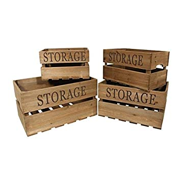 amazon cheung s 4741 4 set of 4 wooden storage crates brown 4