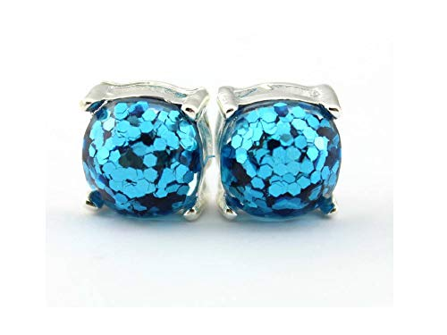 (Ivy & Clover Preppy Collection Post Stud Style Earrings (Aqua Blue Silvertone Square Confetti Glitter Stud))