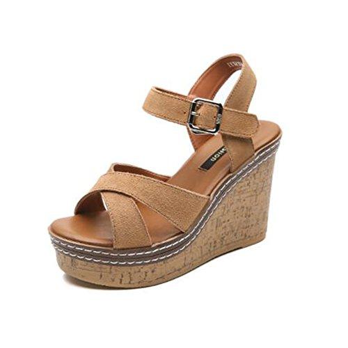 Slippers HAIZHEN Women shoes 11 cm female summer sandals Women's comfortable wild high-heeled sandals Korean fashion sandals for Women (Color : Brown, Size : EU36/UK3.5/CN35) Brown