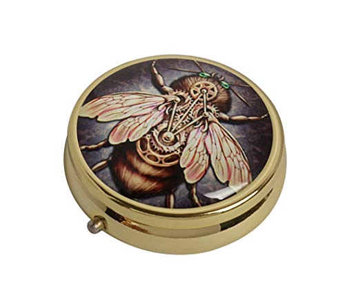 XUTAI Custom Personalized Round Stainless Steel Gold Glass Travel Pill Case Vitamin Decoration Box (Steampunk bee)