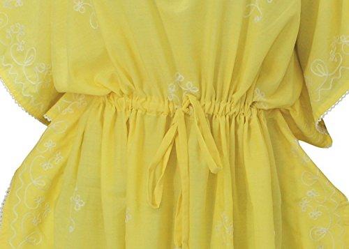 La Leela concepteur de la taille plus cordon brodé couvrent jusqu'à caftan jaune