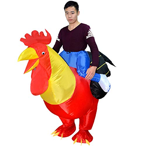MH ZONE Inflatable Cock Rooster Costumes for Adult, Adult Halloween Costumes Inflatable Rooster Suit Cosplay Funny Dress(Adult Cock) Red