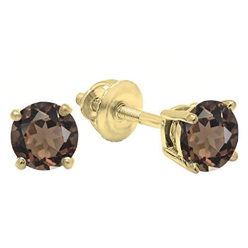 Dazzlingrock Collection 14K 5 MM Each Round Smokey Quartz Ladies Solitaire Stud Earrings, Yellow Gold ()