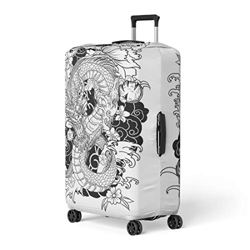 c1c3c36bf02a Pinbeam Luggage Cover Red Japan Dragon Tattoo Coloring Book Japanese Asian  Travel Suitcase Cover Protector Baggage Case Fits 26-28 inches
