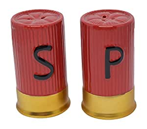 Porcelain Bullet Shot Casing Shakers Country Style Decor in Red and Gold