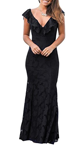 Negro Vestido para abierta espalda mujer de Xx Large 5 qw4d8q