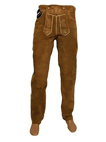 SHAMZEE Trachten Lederhose lang in Schlamm farbe Echt Leder SHAMZEE Trachtenlederhosen Gr. 46-62 (taillenmaß stehen im beschreibung) (54, camel Schlamm)