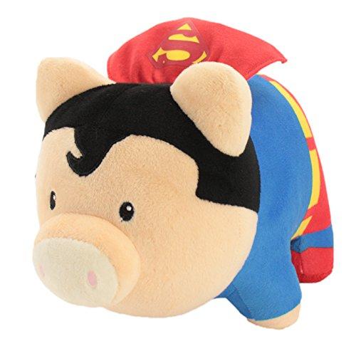 Piggy Thrifters Justice League Superman Soft Piggy Bank, Blue/Red, 9.5