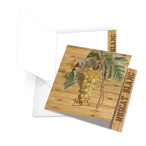 - JQ4603HTYG Jumbo Square-Top Thank You Greeting Card: Through the Grapevine Muscat Blanc, Featuring Images of Vintage Grapevines and Leaves; With Envelope (Large Size: 8.25