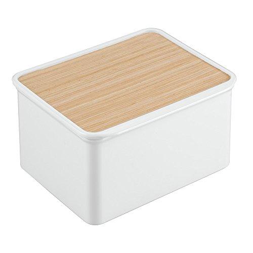 InterDesign RealWood Kitchen Cabinet and Pantry Storage Box with Hinged Lid - White/Light Wood Finish -