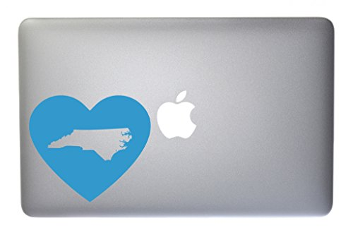 - North Carolina Love State Pride Heart Vinyl Decal for Macbook, Laptop or other device 5 Inch (ice blue)