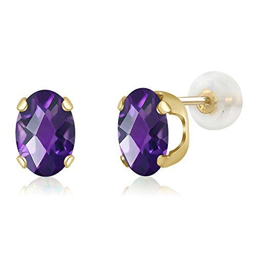 1.50 Ct Oval Checkerboard 7x5mm Purple Amethyst 14K Yellow Gold Stud Earrings (Yellow Earrings Purple)