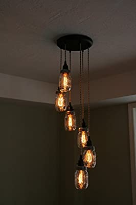 "Jar Chandelier Light - 6Strand Spiral Mason Jar Chandelier on 10"" Oil Rubbed Bronze Canopy - By Industrial Rewind"