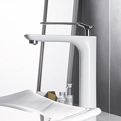 CZOOR Badezimmer Waschbecken Armaturen modernes Bad Armatur chrom Einloch mit kaltem und heissem Wasser, Waschbecken Armatur Küchenarmatur