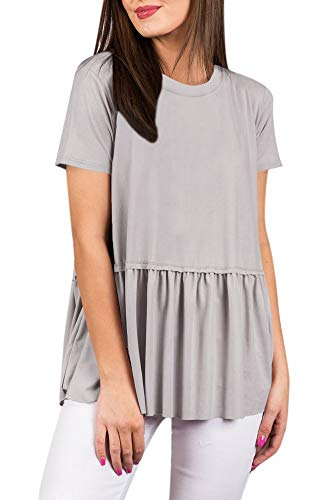 For G and PL Women's Flare Cute Casual Short Sleeve T Shirt Pleated Summer Loose Peplum Hem Cotton Tunic Top Grey XL