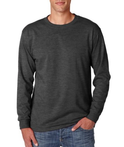 Adult Long-Sleeve Heavyweight Blend T-Shirt (Black Heather) (Medium) (Jerzees Blend Youth Heavyweight)