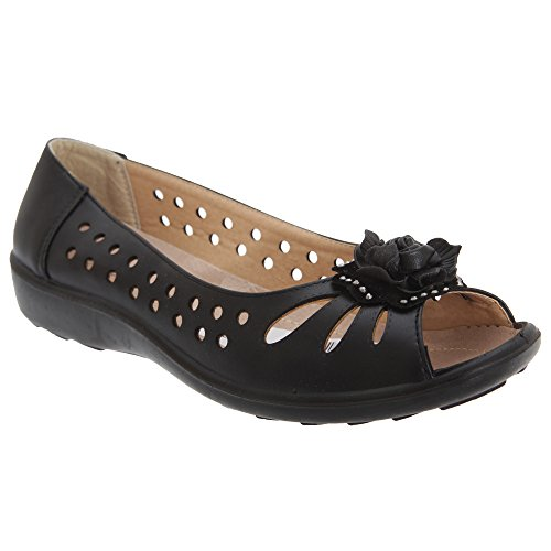 Flower Boulevard Shoes Toe Casual Open Womens Punched Black Ladies wHzqWrXgnH