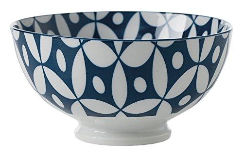 (Light) Torre & Tagus Kiri Porcelain 15cm Medium Dark bluee with bluee Trim Bowl