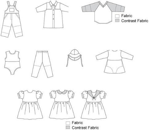 Enfant Kwik Sew Patron de Couture V/êtements pour poup/ée 2921/ / O//S