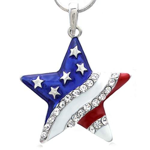 Charm Flag Usa Pendant (Soulbreezecollection 4th of July Independence Day American USA US Flag Star Necklace Pendant Charm)