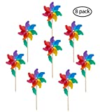 "MCJ Maple 7-Color DIY Rainbow Wheel Spinners Pinwheels Windmill (Diameter 9.5"") Gift Educational Artwork"