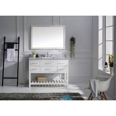 Virtu USA Caroline Estate 48 inch Single Sink Bathroom Vanity Set in White w/ Square Undermount Sink, Italian Carrara White Marble Countertop, No Faucet, 1 Mirror - MS-2248-WMSQ-WH - Contemporary shaker doors with hotel style open shelving, available in warm white, deep espresso, cool gray, and cashmere Durable construction features 2-inch solid wood framing, 1/2-inch hardwood panels, multi-layer door construction Fully finished, water-resistant cabinet using zero-emissions, multi-stage painting and sealing process - bathroom-vanities, bathroom-fixtures-hardware, bathroom - 41 b2ztTaOL. SS400  -