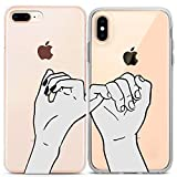 Lex Altern Couple iPhone Case Pinky Swear Xs Max X Xr 10 8 Plus 7 6s 6 SE 5s 5 TPU Sketch Clear Cute Friend Bestie Gift Apple Girl Teen Phone Draw Basic Cover Soft Print Protective Matching Silicone