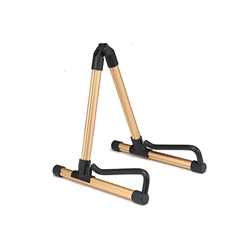Rocsai A-frame Universal Folding Guitar Stand for Acoustic electric classical Guitar Bass Violin Ukulele Banjo - Folding, Portable and Lightweight, Single Stand (Gold) by Rocsai