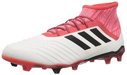 adidas Predator 18.2 FG Soccer Shoe, White/Core Black/Real Coral, 10.5 M US