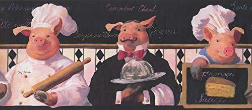 Wallpaper Border Kitchen French Chef Waiter Pigs 11