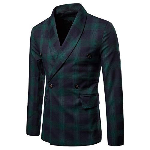 Mens Jacket Godathe Fashion Men's Autumn Winter Long Sleeve Plaid Suit Lapel Jacket Top Blouse ()