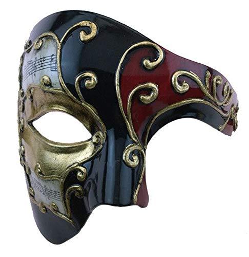 Phantom Opera Style Black Red Musical Notes Venetian Halloween Mardi Gras -