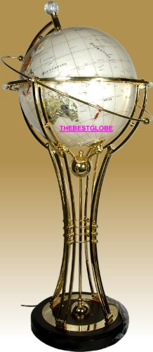 "37"" Tall Illuminated Mother of Pearl Auto Rotated Floor Lamp w/ Brass Stand and Heavy Wood Base"