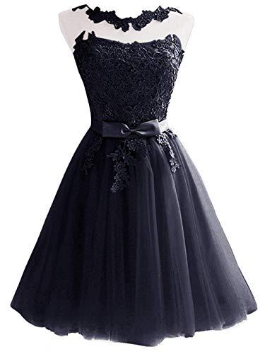 Marineblau Kurz Partykleider JAEDEN Abendkleider Ballkleider Hochzeitskleider Tüll Brautjungfernkleider 0EwATwq