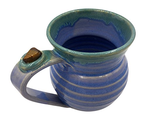 Healing Stone Handcrafted Unique Mugs Featuring Energy Stones - Focus and Meditation - Blue/Green with Tiger's Eye