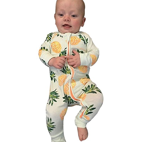GBSELL Newborn Baby Fruit Animal Print Gown Pajamas Romper Jumpsuit Clothes (Fruit, 0-3 Month) (Pajama Shoes)