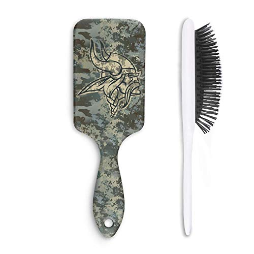 For Football Fans Army Camo Cushion Bristles Pin Hair Brush Detangling Brush Comb Reducing Hair Breakage Adding Shine Mens Womens Kids Girl for Hair Straightening & Smoothing for Wet Dry hair