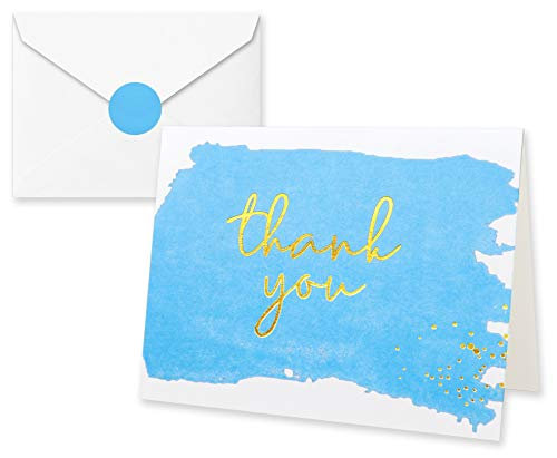 Thank You Cards with Envelopes and Stickers - Kraft Paper Blue, Boy Baby Shower Notes for Gratitude - 50 Single Design Cards for Wedding, Business, Formal, Bridal Shower and All Occasions 3.75x5 Inch -