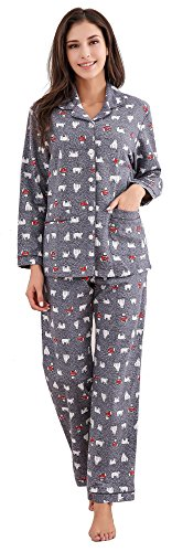 - Richie House Women's Printed Flannel Two-Piece Set Pajama RHW2774-B-XL Grey