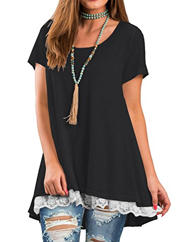 QIXING Women's Lace Short Sleeve Tunic Top Blouse Black-S