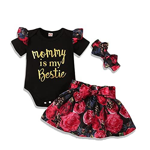 Mama's Bestie Newborn Baby Girl Ruffle Romper Top Leopard Skirt Headband Outfits (Black, 6-12 Months, 6_Months)