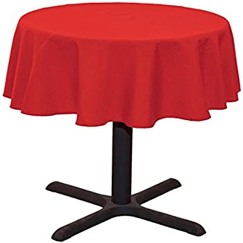 LinenTablecloth Round Cotton Feel Tablecloth, 51 Inch, Red