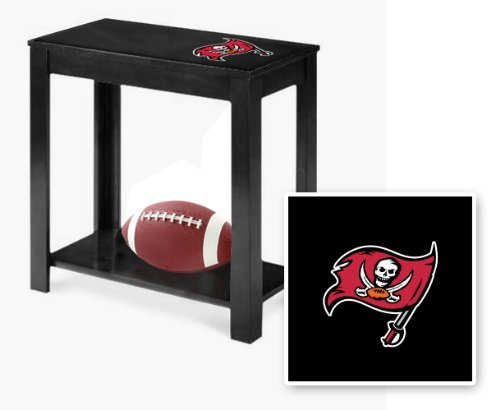 New Black Finish End Table featuring Buccaneers Football Team Logo