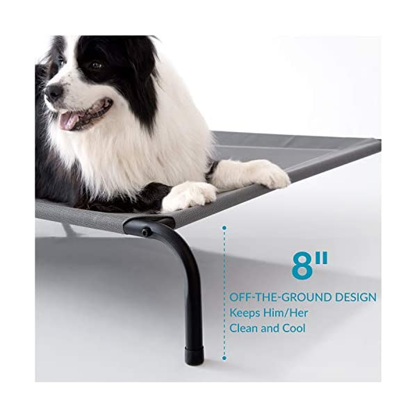 Petsure 35/43/49 inches Elevated Dog Bed Cot - Cooling Raised Dog Cots for Large Medium Small Dogs, Outdoor Pet Bed with Skid-Resistant Feet, Durable Frame, Breathable Mesh 3